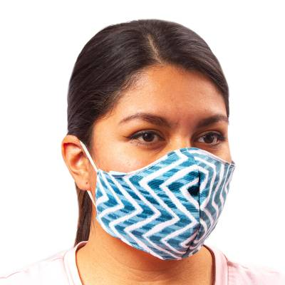 Poplin face masks, 'Teal Zigzag' (pair) - Washable Poplin Face Masks in teal Print (Pair)