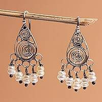 Cultured pearl filigree chandelier earrings, 'Regal Tradition' - Oxidized Sterling Silver and Cultured Pearl Earrings