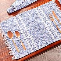 Cotton placemats, 'Inspiration in Azure' (set of 4) - Hand Loomed Placemats in Blue and White (set of 4)