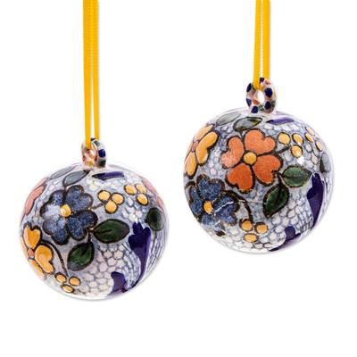 Floral Talavera-Style Christmas Ornaments (Pair)