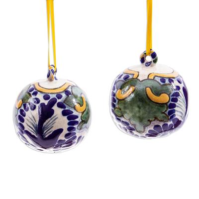 Talavera-Style Ceramic Christmas Ornaments (Pair)