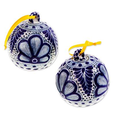 Blue and White Talavera-Style Ornaments (Pair)