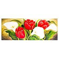 'Red Tulips with Calla Lilies' - Signed Realistic Oil Painting of Red Tulips and Lilies