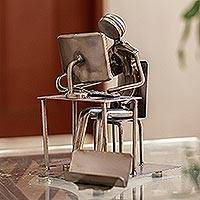 Recycled auto parts sculpture, 'Rustic Techie' - Rustic Techie Recycled Metal Sculpture and Card Holder