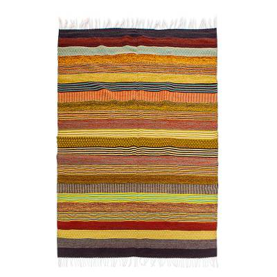 Large Hand Woven Wool Area Rug (5.5x8)