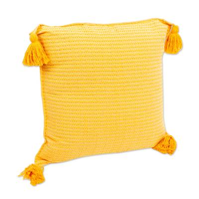 Hand Loomed Yellow Cotton Cushion Cover
