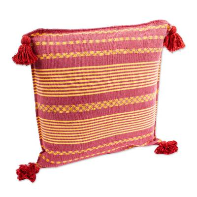 Hand Woven Red and Yellow Cushion Cover