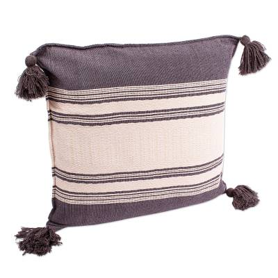 Grey and White Striped Cushion Cover