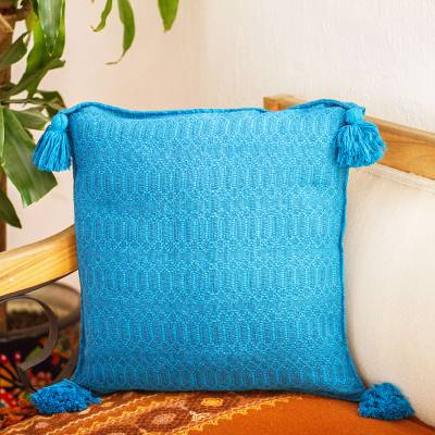 Cotton cushion cover, 'Azure Brocade' - Handwoven Azure Blue Brocade Cotton Cushion Cover