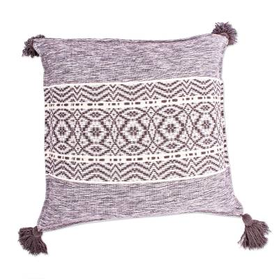 Hand Woven Grey and White Cotton Cushion Cover
