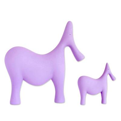 2 Minimalist Purple Resin Dad Elephant and Baby Sculptures