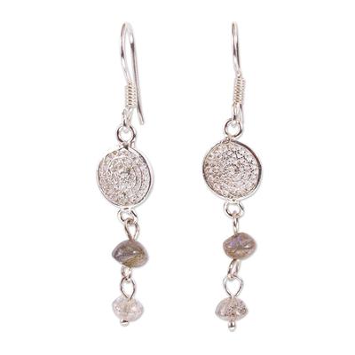 Sterling Silver Filigree and Labradorite Dangle Earrings