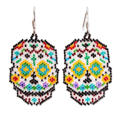 Huichol Beadwork Day of the Dead Blue-Eyed Skull Earrings