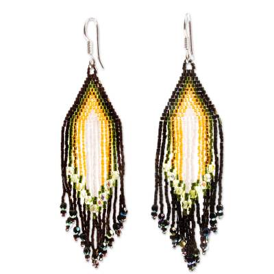 Glass beaded waterfall earrings, 'Espresso and Yellow Rivers' - Huichol Espresso-White-Yellow Beadwork Waterfall Earrings