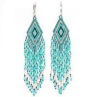 Glass beaded waterfall earrings, 'Aqua Cascade' - Huichol Aqua-Mint-Silver Beadwork Waterfall Earrings