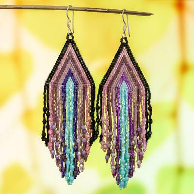 Glass beaded waterfall earrings, 'Rosy Chic Cascade' - Mint-Mauve-Rose Huichol Beadwork Waterfall Earrings