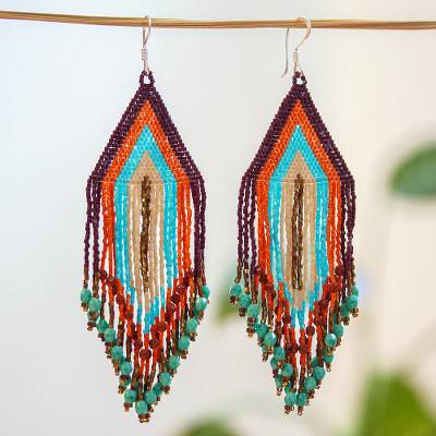 Huichol glass beaded long earrings, 'Traditions' - Huichol Beadwork Peach-Aqua-Tangerine Waterfall Earrings