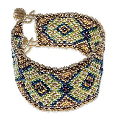 Huichol Warm Diamond Motif Beadwork Bracelet