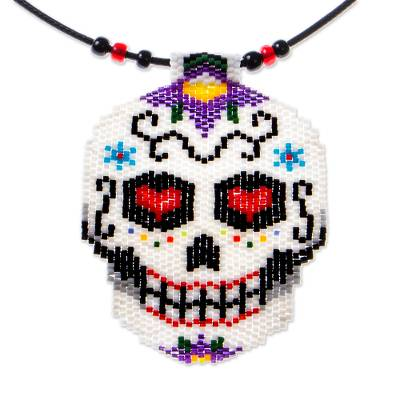 Beadwork Day of the Dead White-Lilac Skull Huichol Necklace