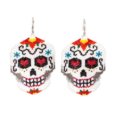 Beadwork Day of the Dead White Skull Huichol Earrings