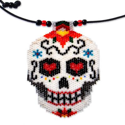 Beadwork Day of the Dead White Skull Huichol Necklace