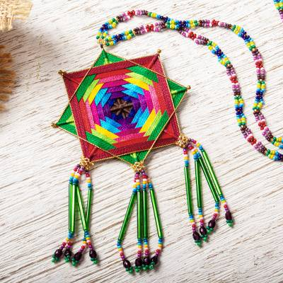 Glass beaded pendant necklace, 'Green Huichol Mandala' - Huichol Handcrafted Green Mandala Pendant Necklace