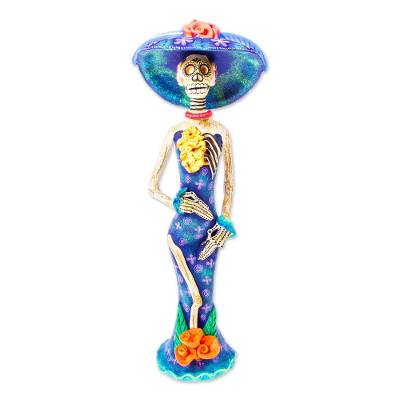 Ceramic statuette, 'Beauty Immortal in Blue' - Hand Painted Catrina Sculpture in Ceramic