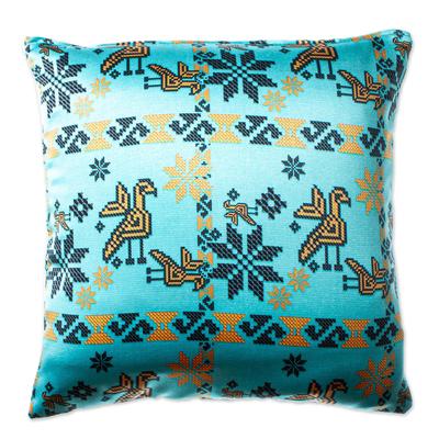 Blue Satin Mazahua Style Cushion Cover