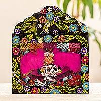 Metal wall art, 'Ostentatious Catrina' - Metal and Glass Catrina Wall Art from Mexico