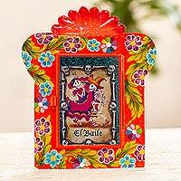 Metal wall art, 'El Baile' - Catrina Theme Tin and Glass Wall Art Accent