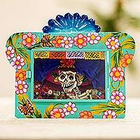 Metal wall art, 'Swanky Catrina' - Aqua Tin and Glass Catrina Framed Wall Art