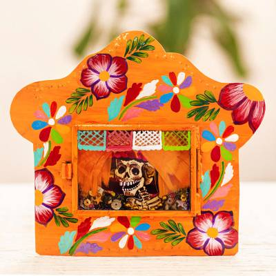 Metal wall art, 'Fancy Catrina' - Yellow Metal and Glass Catrina Wall Art