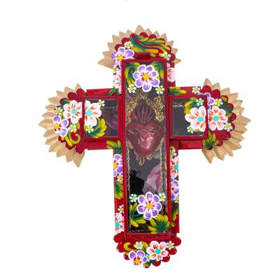 Glass and Tin Wall Cross from Mexico