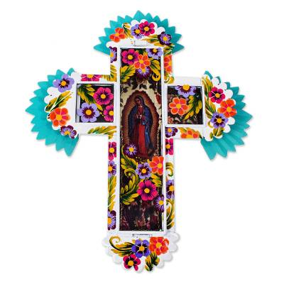 Blessed Virgin Tin and Glass Wall Cross Art