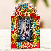 Metal wall art, 'The Newlyweds' - Day of the Dead Themed Metal Wall Art