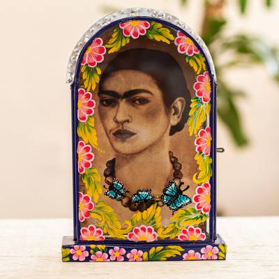 Tin plaque, 'Frida with Butterflies' - Handcrafted Frida Kahlo Plaque or Photo Frame