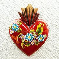 Wood wall art, 'Love's Creation' - Handcrafted Heart Plaque Wall Art Decor from Mexico