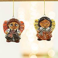 Ceramic ornaments, 'Little Girl Angels' (pair) - Two Ceramic Little Girl Angel Ornaments from Mexico