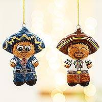 Ceramic ornaments, 'Little Mariachi Boys' (pair) - Two Ceramic Little Mariachi Boy Ornaments from Mexico