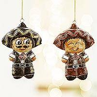Ceramic ornaments, 'Mariachi Boys' (pair) - Two Ceramic Mariachi Boy Ornaments from Mexico
