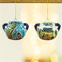 Ceramic ornaments, 'What's Cooking?' (pair) - Two Handcrafted Ceramic Cook Pot Ornaments from Mexico