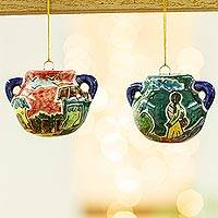 Ceramic ornaments, 'What's for Dinner?' (pair) - Two Handcrafted Ceramic Cooking Pot Ornaments from Mexico
