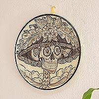Decorative ceramic plate, 'Beautiful Catrina' - Handmade Catrina Decorative Ceramic Plate