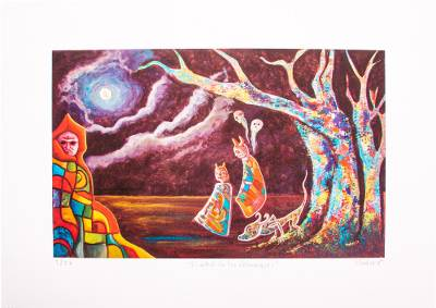 Giclee on canvas, 'The Tree of the Chaneques' - Surreal Limited-Edition Giclee on Canvas