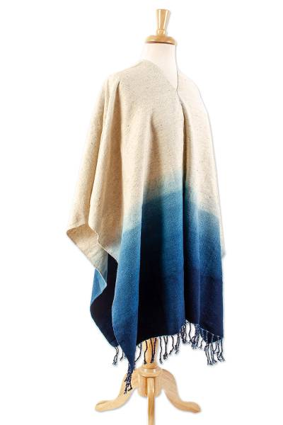 Handwoven Navy to Ombre Wool Poncho from Mexico