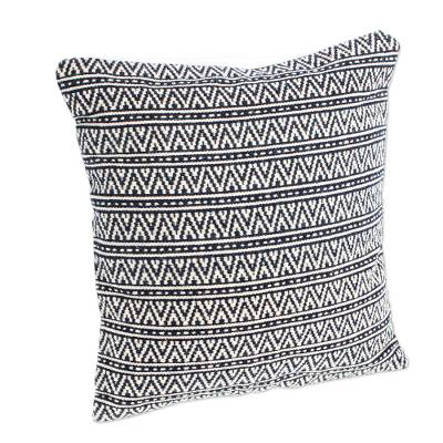 2 Handwoven Wool Navy & Ivory Geometric Motif Cushion Covers