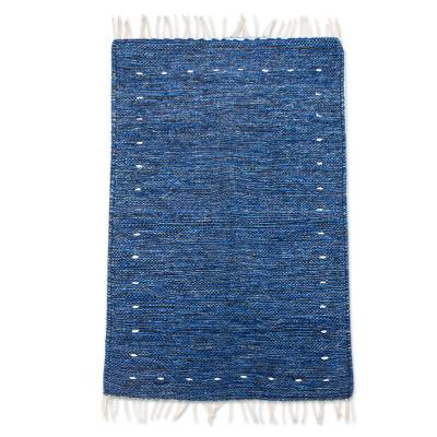 Hand Crafted Blue Wool Rug (2x3)