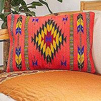 Wool cushion cover, 'Zapotec Arrows in Coral'