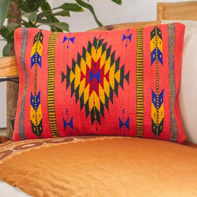 Wool cushion cover, 'Zapotec Arrows in Coral' - Hand Loomed Wool Cushion Cover