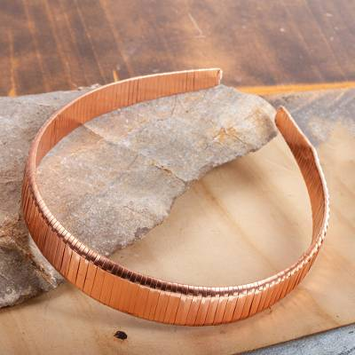 Copper headband, 'Gleaming Ribbons' - Handcrafted Mexican Copper Headband Diadem